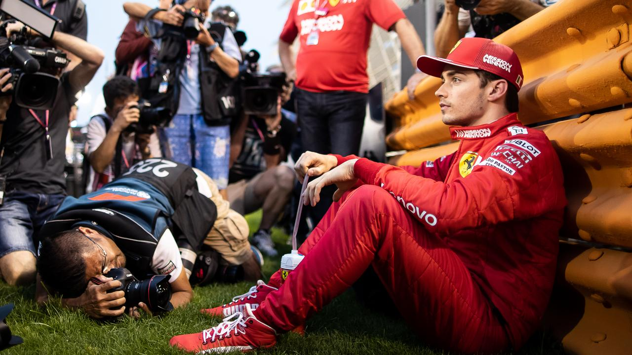 ff368889ac0d Pole-sitter Charles Leclerc was surrounded by photographers as he focused  on his pre-