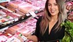 Courtney Swift, 24 of Toowong, with the new line of V2food plant-based meat available at Drakes, Mc Dowall. Photographer: Liam Kidston.
