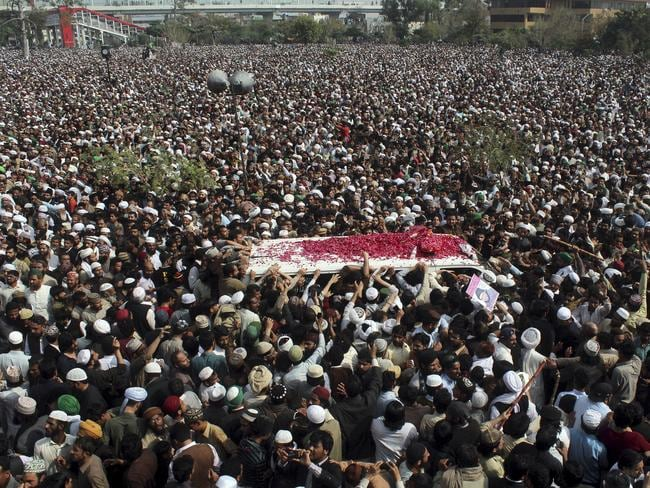 Thousands of people attend the funeral of Mumtaz Qadri. Picture: Anjum Naveed/AP