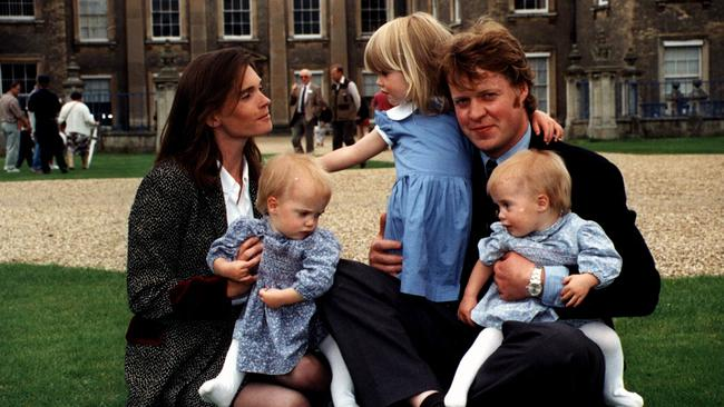 Charles, Earl Spencer with family wife Victoria and children Kitty, 2 and twins Eliza and Katya on their Northamptonshire estate in 1993