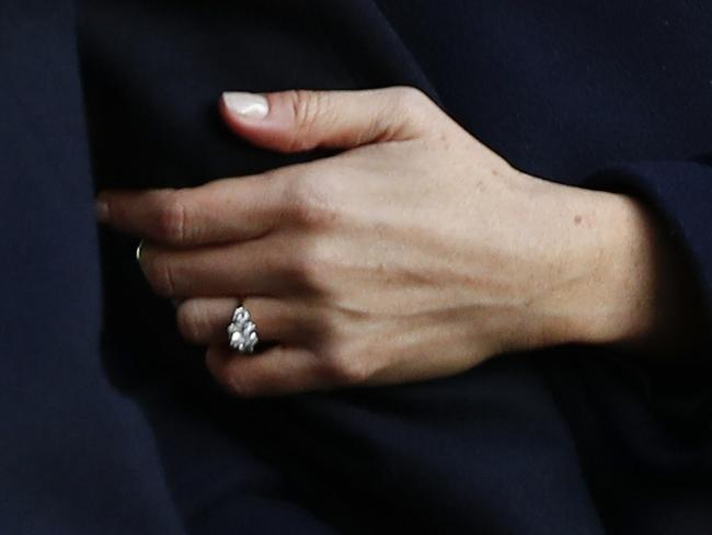 Meghan's engagement ring contains diamonds from Botswana. Picture: AFP PHOTO / POOL / Adrian DENNIS
