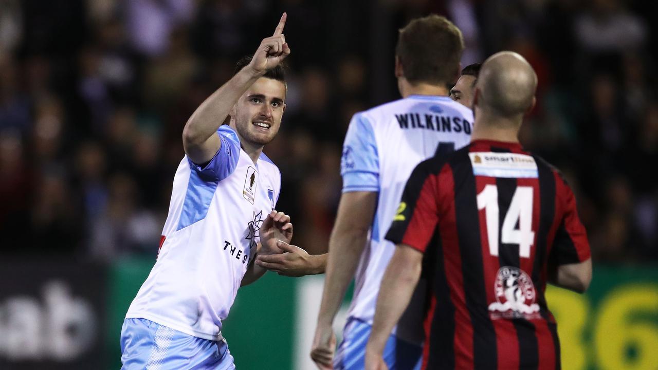 Benjamin Warland of Sydney FC celebrates scoring.