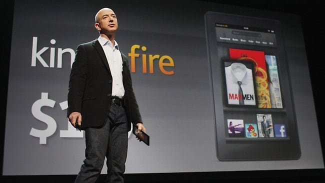 Amazon founder Jeff Bezos introduces a new tablet called the Kindle Fire. Picture: Spencer Platt/Getty