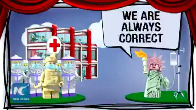 In the video the Chinese Lego doctors try to reason with Lady Liberty.