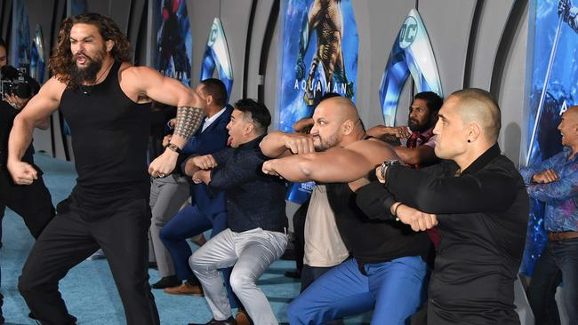 Jason Momoa lead a performance of a Haka at the premiere. Picture: AFP