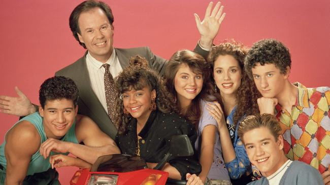 Saved by the Bell cast: Mario Lopez as Alabert Clifford 'AC' Slater, Dennis Haskins as Mr Richard Belding, Lark Voorhies as Lisa Turtle, Tiffani Thiessen as Kelly Kapowski, Elizabeth Berkley as Jessie Spano, Mark-Paul Gosselaar as Zachary 'Zach' Morris and Dustin Diamond as Screech Powers.