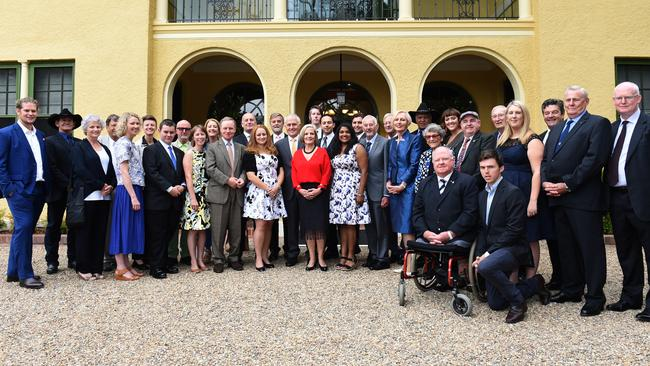 Aussie legends ... Prime Minister Malcolm Turnbull poses with all Australian of the Year finalists at the morning tea. Picture: AAP Image/Mick Tsikas