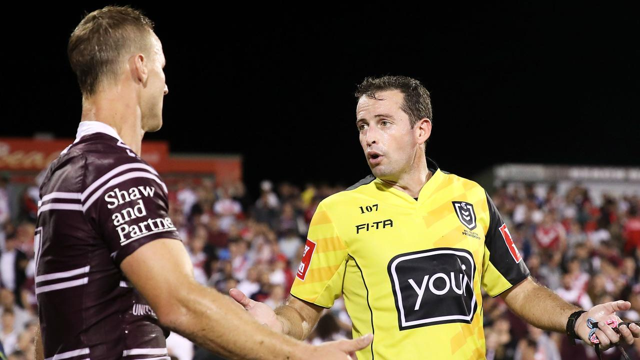 Daly Cherry-Evans shows his frustration as he speaks to referee Dave Munro after the final whistle.