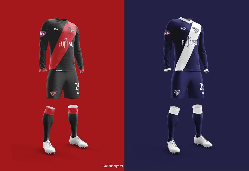 Essendon's home and away/clash jerseys.