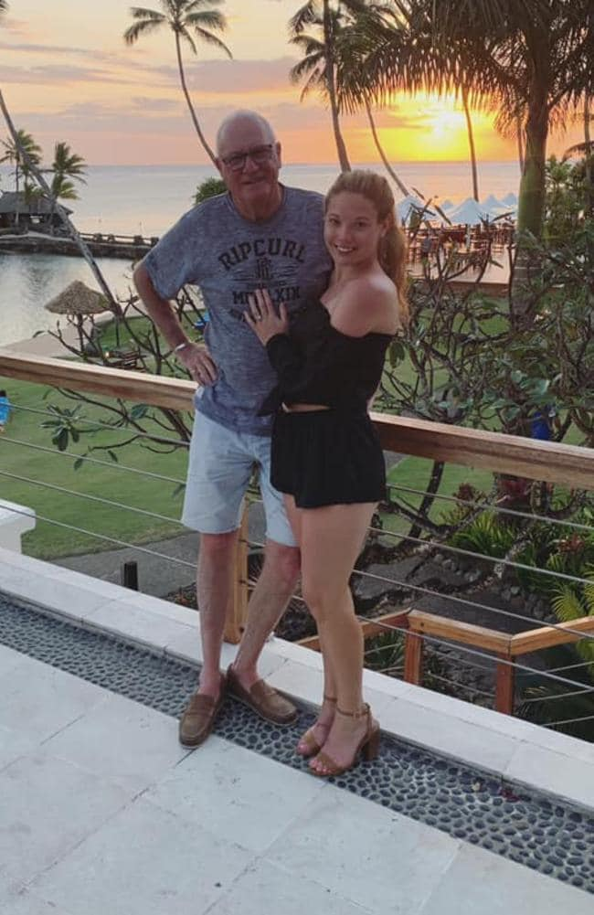 The pair shortly after their engagement during a Fiji holiday. Picture: Facebook/Ashleigh Petrie