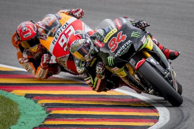 Folger battling with Marquez at the Sachsenring. Pic: Yamaha Racing