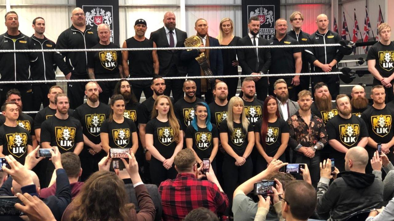 Wrestlers and trainers at the new WWE NXT UK Performance Centre.