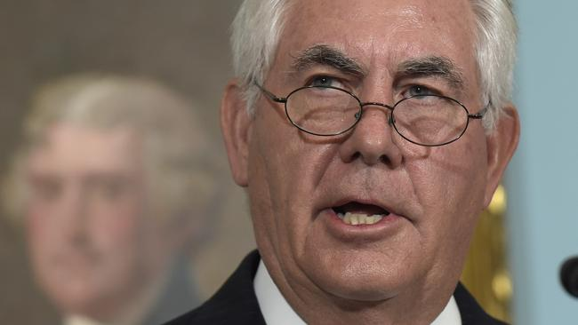 Secretary of State Rex Tillerson speaks on Tuesday on the release of the 2016 annual report on International Religious Freedom at the State Department in Washington. Picture: AP Photo/Susan Walsh.