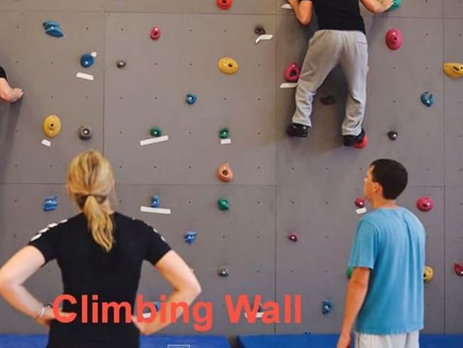 Yep, it's a climbing wall. Because every self-respecting criminal should be able to scale one.