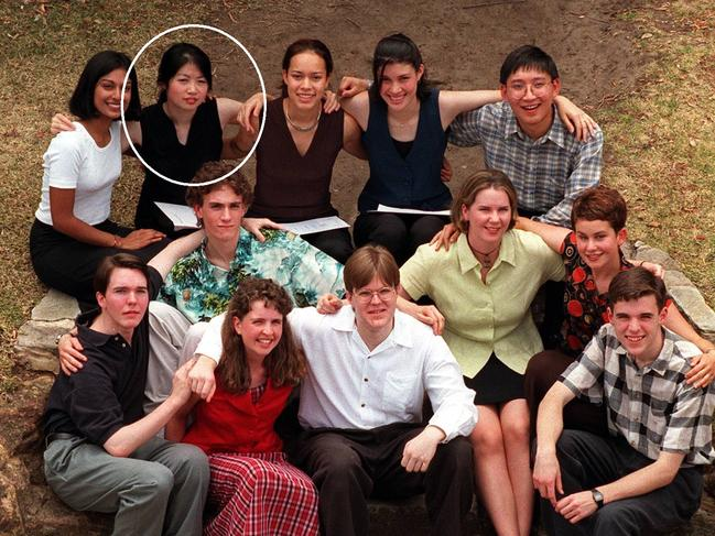 Denise Lee (circled) with fellow Class of 1996 HSC students who scored perfect 100 Tertiary Entrance Rank scores in their HSC exams.