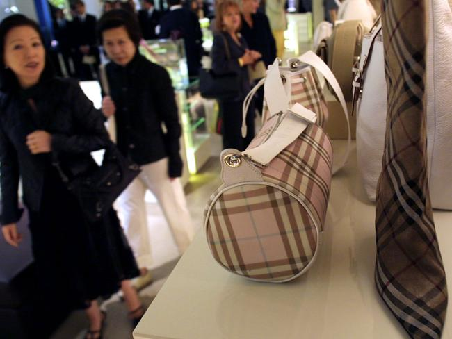 The traditional Burberry plaid on display at a store in Milan, Italy. Picture: Bloomberg News.
