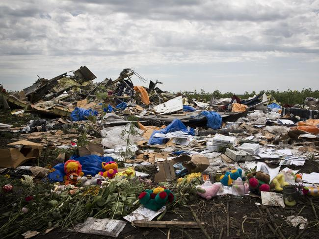 Search suspended ... debris and objects found scattered on the ground where Malaysian Airlines flight MH17 was shot down in Rozsypne, Ukraine. Picture: Ella Pellegrini