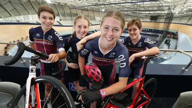 QLD junior track team members Ryan Elliott, Isabelle Carnes, Akala Keeble and Andrew Davies during training at the Anna Meares Velodrome. Picture: Liam Kidston