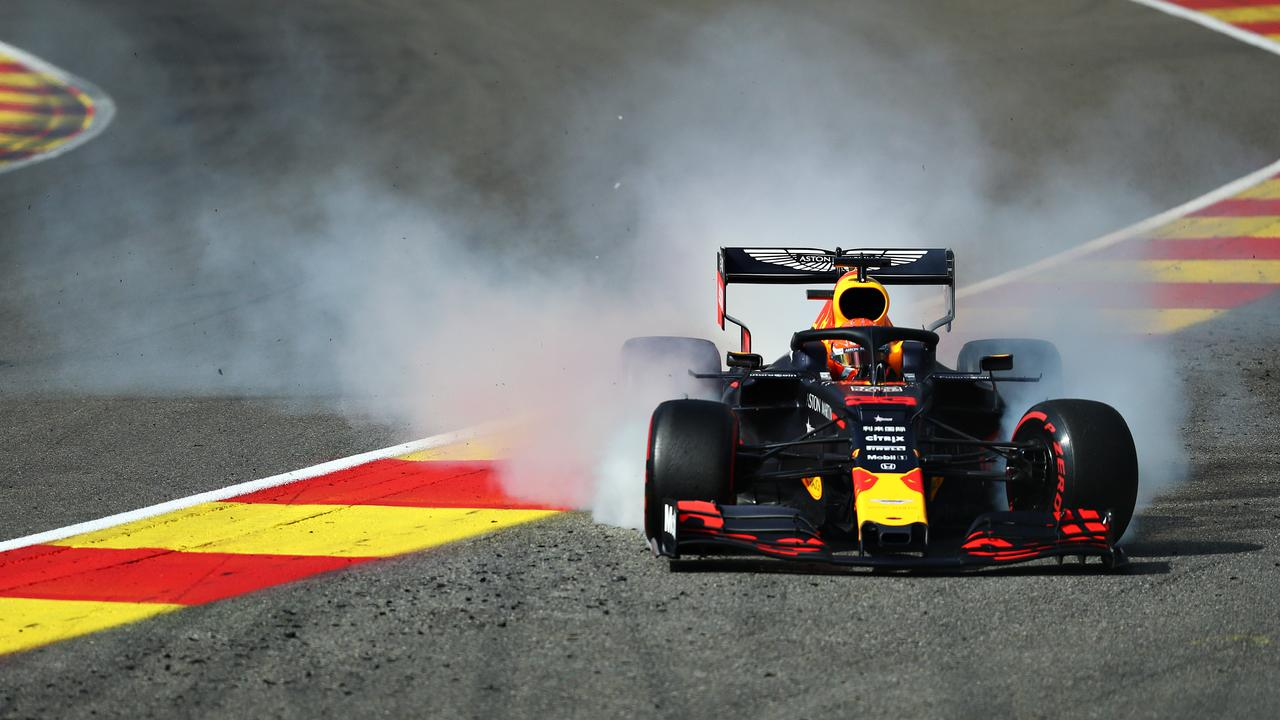 Max Verstappen runs off track before his race-ending crash.