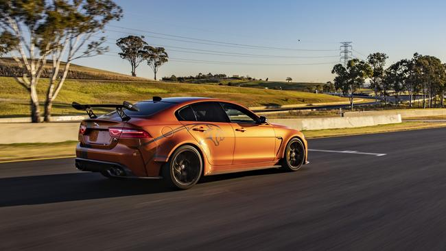 The XE SV Project 8 can hit 320km/h.