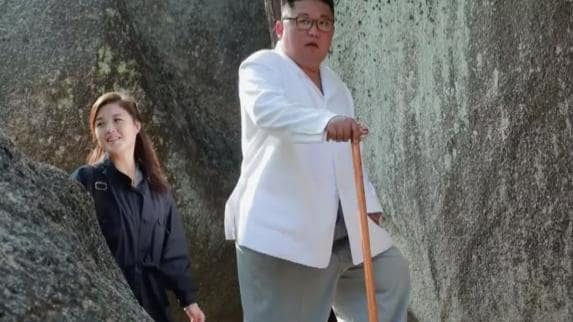 The couple were spotted at a North Korean tourist area this week. Picture: Rodong Sinmun