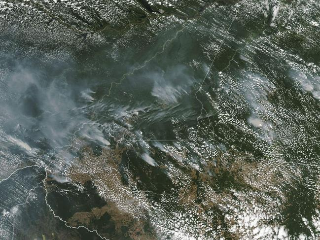 This NASA Earth Observatory image shows a photo of several fires burning in Brazil. Picture: AFP