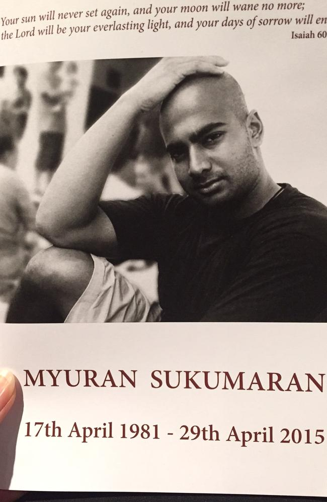 Remembrance ... the order of service at Myuran Sukumaran's funeral. Picture: Supplied