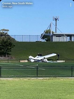 The crashed plane at Cromer Park