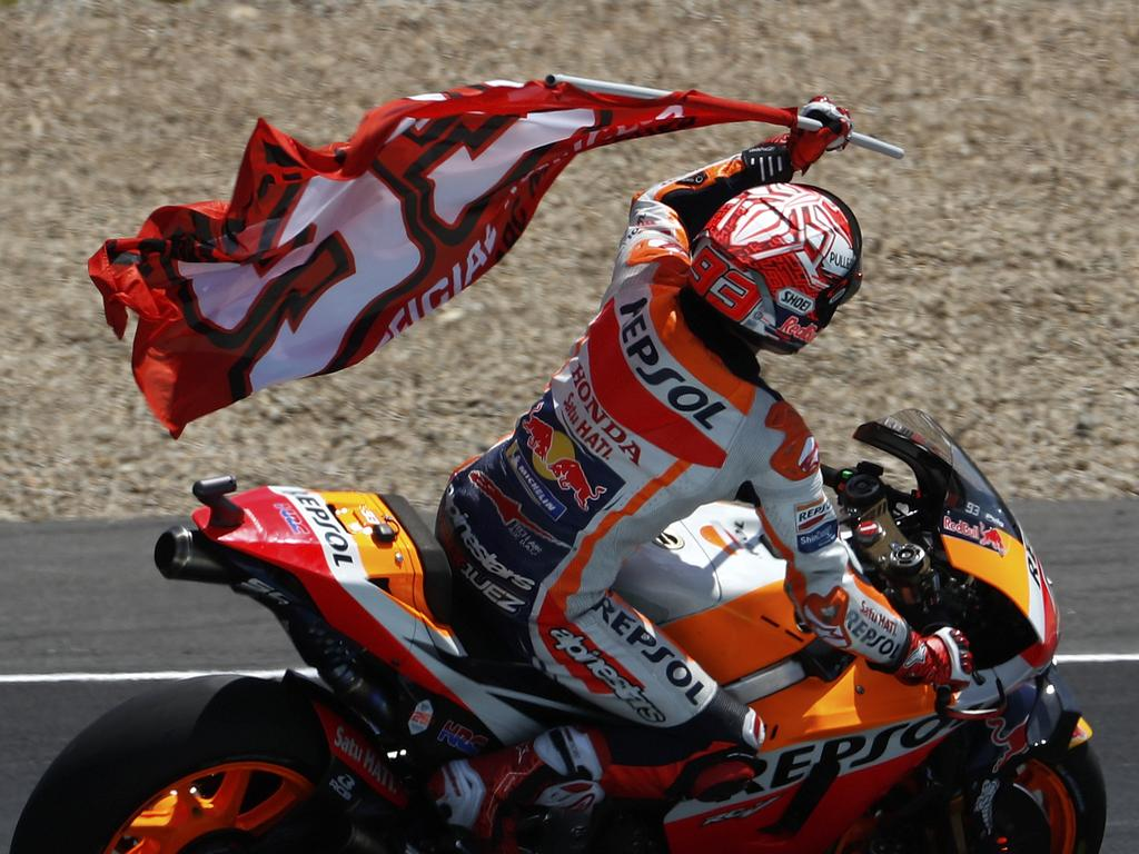 MotoGP rider Marc Marquez of Spain celebrates after winning the Spanish Motorcycle Grand Prix at the Angel Nieto racetrack in Jerez de la Frontera, Spain, Sunday, May 5, 2019. (AP Photo/Miguel Morenatti)