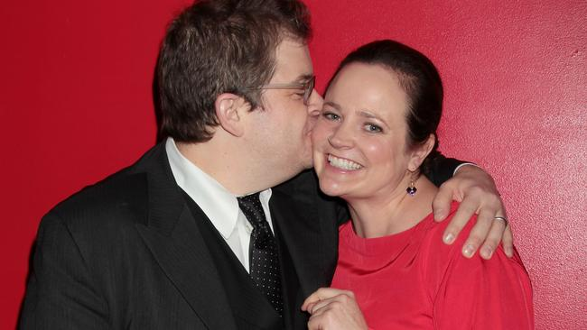 Oswalt with late wife Michelle. Picture: Rex Features / Splash News