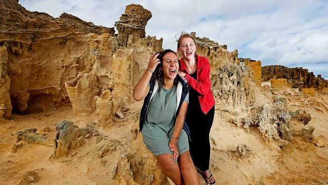 Emma Rentsch and Sarah Schwarz tour the Petrified Forest. Picture: Tim Carrafa