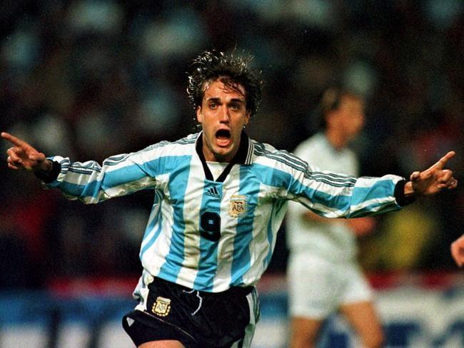Gabriel Batistuta celebrates scoring for Argentina in 1998.