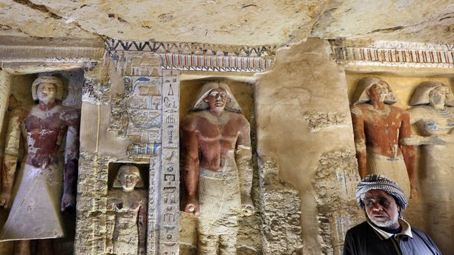 The Egyptian Archaeological Mission working at the Sacred Animal Necropolis in Saqqara archaeological site succeeded to uncover the tomb. Picture: Amr Nabil / AP Photo