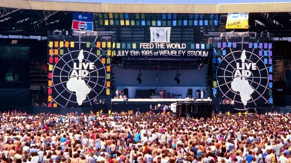 A photo from the actual Live Aid gig at Wembley Stadium in 1985.