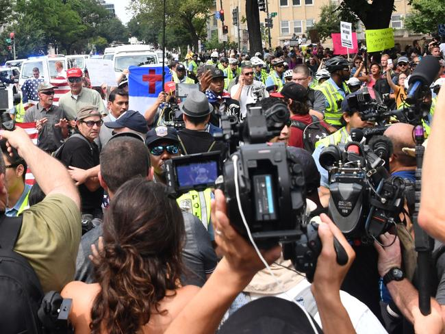 Far-right activists near the White House in Washington DC. Picture: Nicholas Kamm