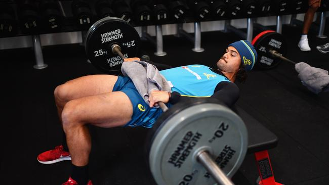 Karmichael Hunt of Australia during a gym training session at the Lensbury Hotel.