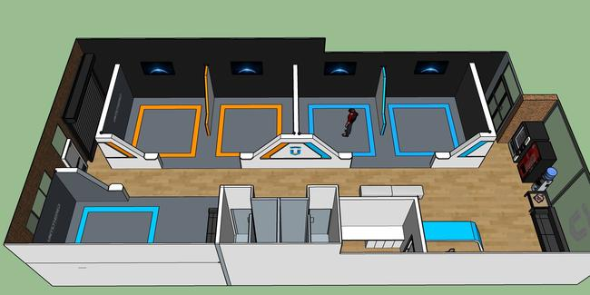 The layout of Untethered, with five bays for VR access (orange and blue squares).