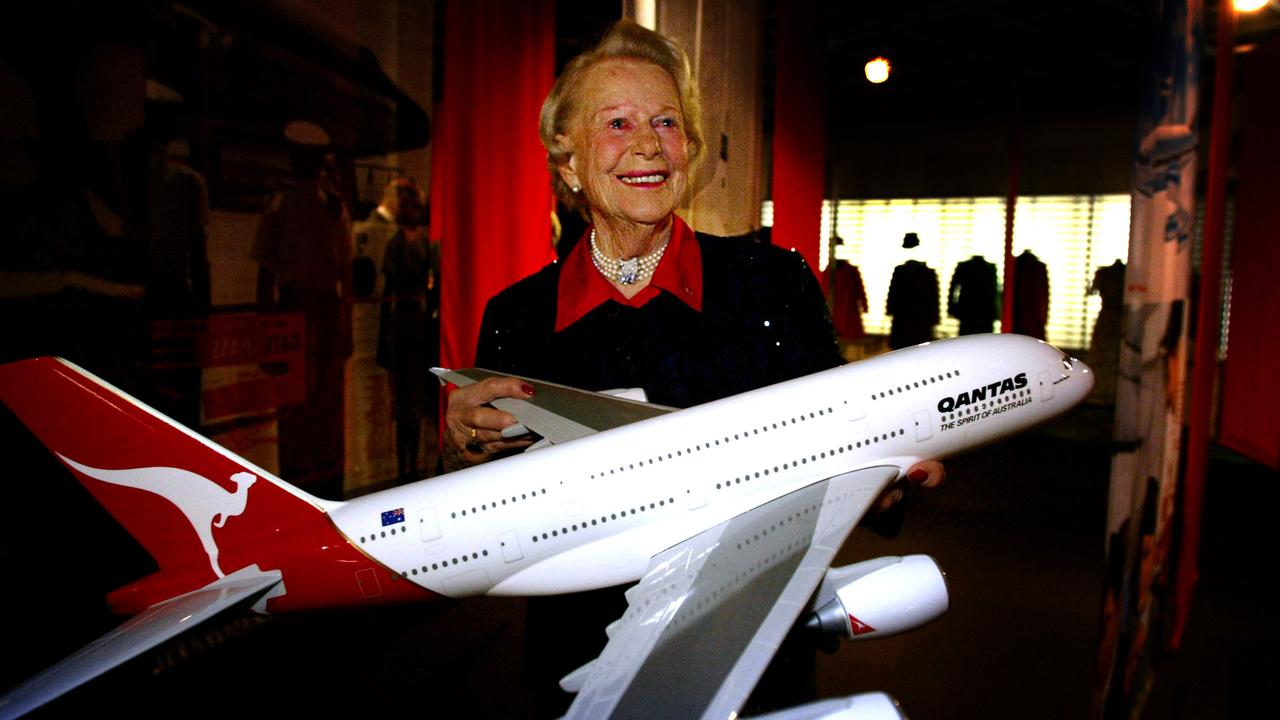 Nancy-Bird Walton at her 90th birthday party with the model of the A380 Airbus, which was named after her.