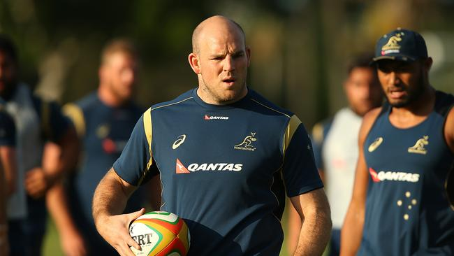 GOLD COAST, AUSTRALIA - JUNE 06: Stephen Moore looks on during the Australian Wallabies Captain's Run at Sanctuary Cove on June 6, 2014 in Gold Coast, Australia. (Photo by Chris Hyde/Getty Images)