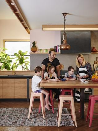 Hayley Pannekoecke with husband James and their children, (from left) Baye, Chloe and Floyd, in their Barwon Heads home.