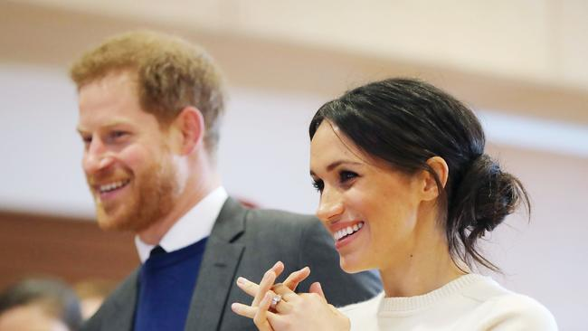 Prince Harry and Meghan Markle during a visit to Northern Ireland. Picture: AFP/Niall Carson