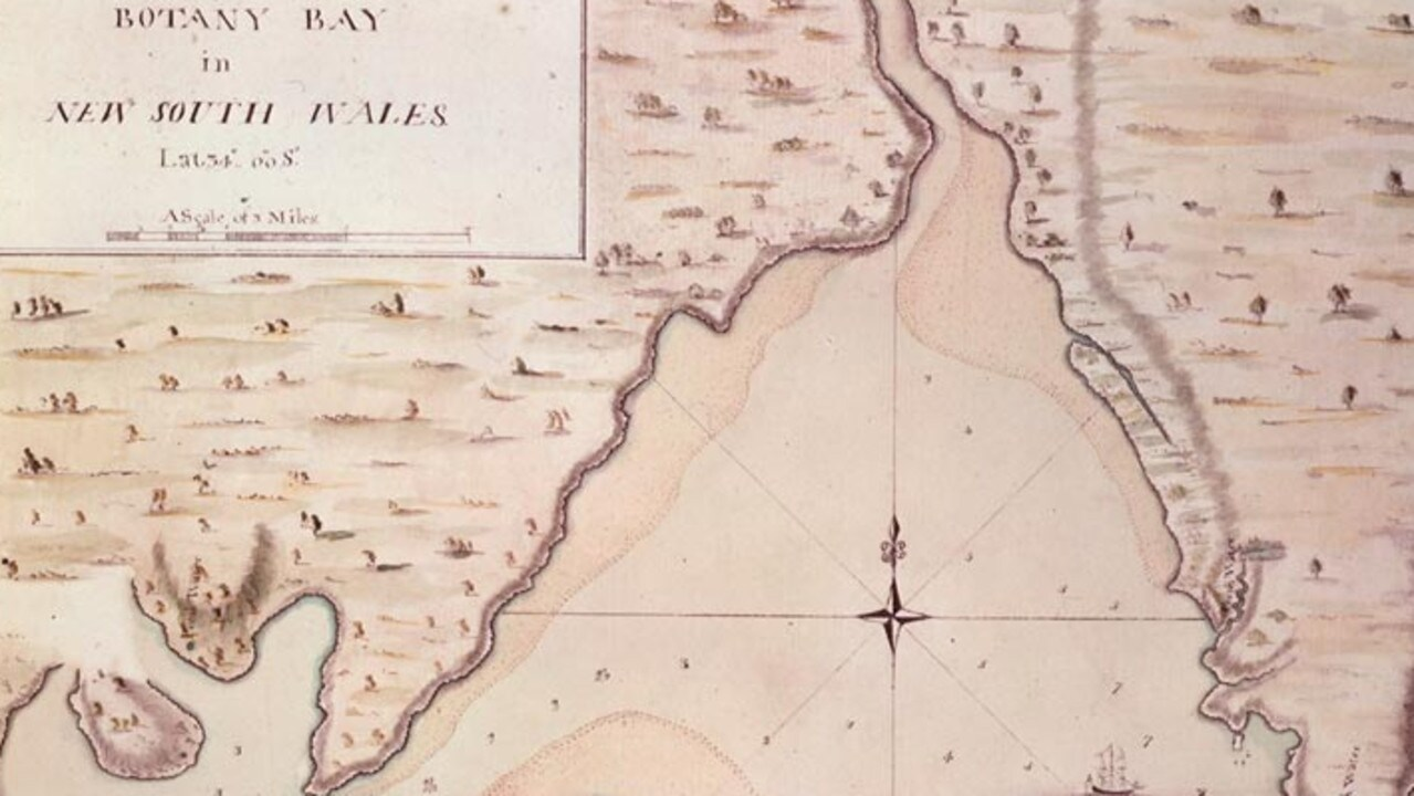Part of Captain James Cook's map of Botany Bay, NSW which is in the British Library