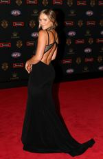 Alex Pendlebury (partner of Scott Pendlebury of Collingwood) on the Brownlow red carpet.