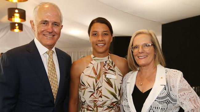 Sam Kerr with PM Malcolm Turnbull and Lucy Turnbull. Picture Kym Smith