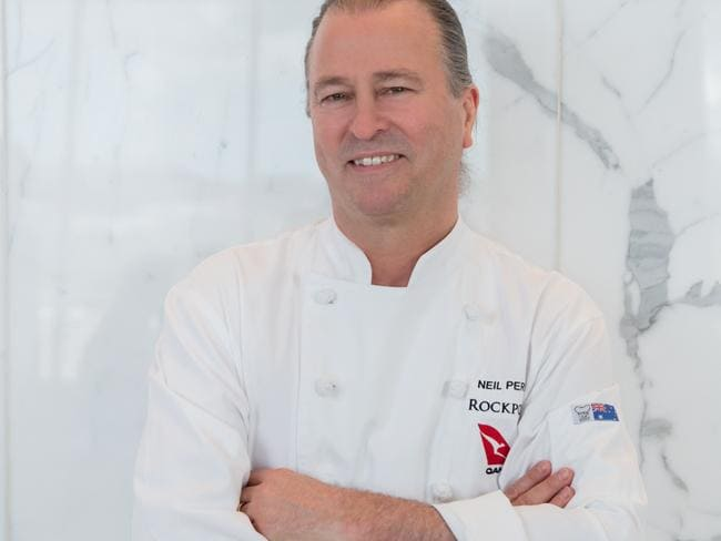 Qantas' creative director of food, beverage and service, Rockpool's Neil Perry, celebrates 20 years of partnering with Qantas in 2017. Picture: Qantas