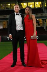 Daniel Hannebery and Katie Cody on the red carpet at the Sydney Swans Brownlow Medal count at the SCG.