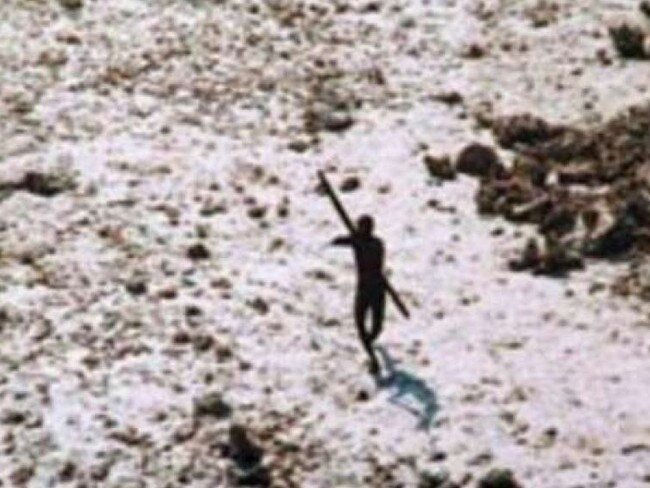 The 2004 image of a Sentinelese tribesman firing arrows at a helicopter.