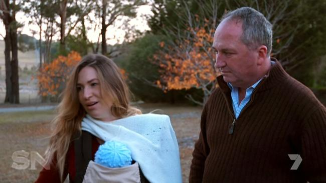 The couple take Sebastian for a walk around Armidale. Picture: Channel 7