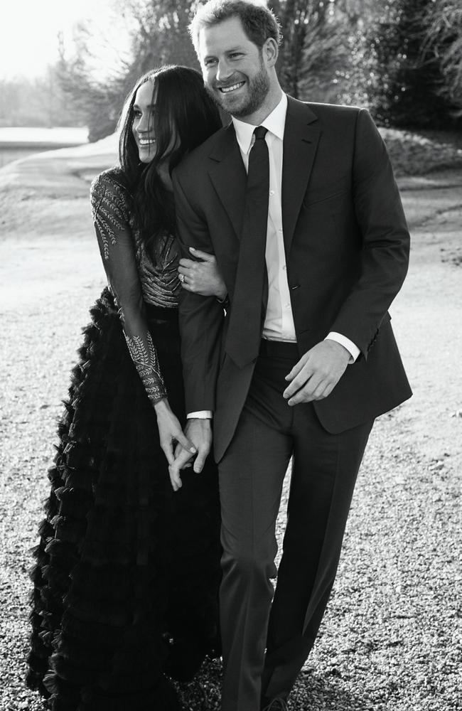 Prince Harry and Meghan Markle at Frogmore House, where she is wearing a Ralph and Russo design. Picture: Alexi Lubomirski.