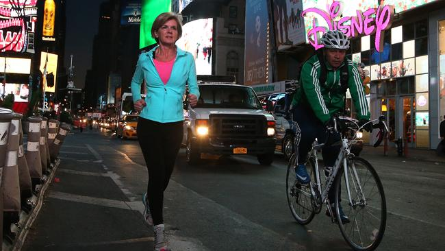 Good Luck ... Foreign Minister Julie Bishop doubts Mr Abbott will give up the bike. Picture: Kym Smith/News Corp.